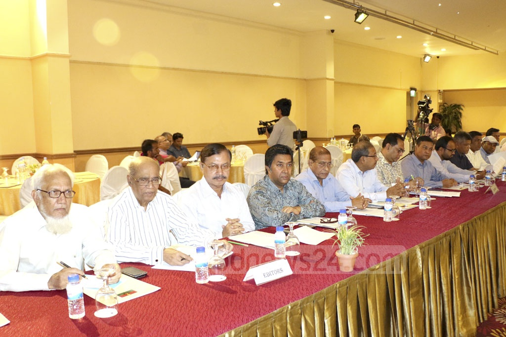 Discussants at an event organised by the BNP on the Digital Security Act at a Dhaka hotel on Monday.
