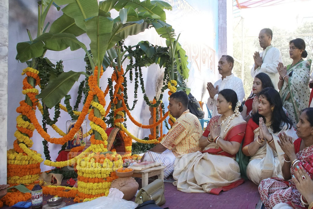 Durga Puja officially started on Monday as devotees called on the goddess Durga to come down to earth at the Puja Mandap at Dhaka's Kalabagan field on Monday.