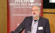 Saudi dissident Jamal Khashoggi speaks at an event hosted by Middle East Monitor in London Britain, Sep 29, 2018. REUTERS
