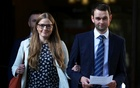 Daniel and Amy McArthur, who own Ashers Bakery in Belfast, leave the Supreme Court in London, Britain, Oct 10, 2018. REUTERS