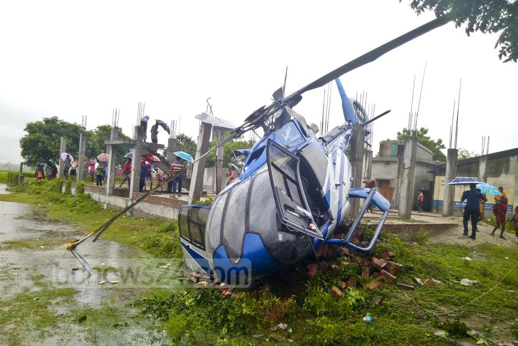 An Impress Aviation helicopter crashed just after take off at Godagari in Rajshahi on Thursday afternoon with Channel i Managing Director Faridur Reza Sagar and five others on board. Sagar and four others received first aid as their injuries were 'minor', according to the private broadcaster's website.