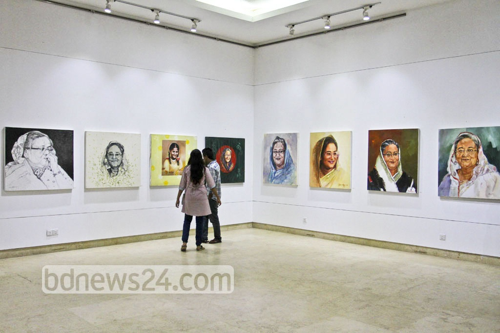 People visit an art exhibition organised to celebrate the birth anniversary of Prime Minister Sheikh Hasina at the National Museum in Dhaka on Friday. Photo: Asif Mahmud Ove