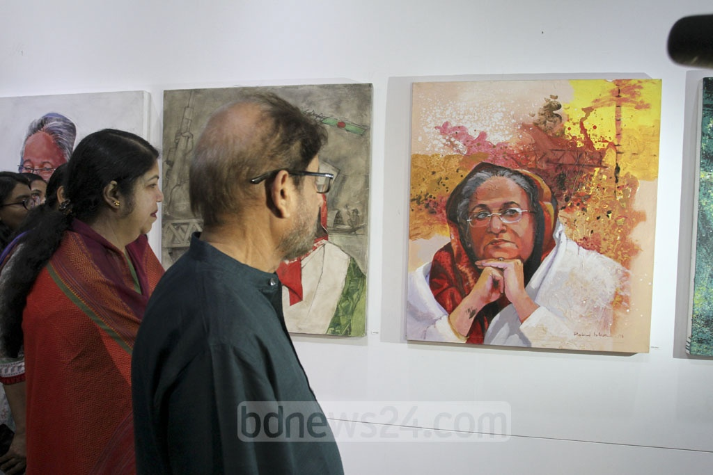 Speaker Shirin Sharmin Chaudhury and Cultural Affairs Minister Asaduzzaman Noor visit an art exhibition organised to celebrate the birth anniversary of Prime Minister Sheikh Hasina at the National Museum in Dhaka on Friday. Photo: Asif Mahmud Ove