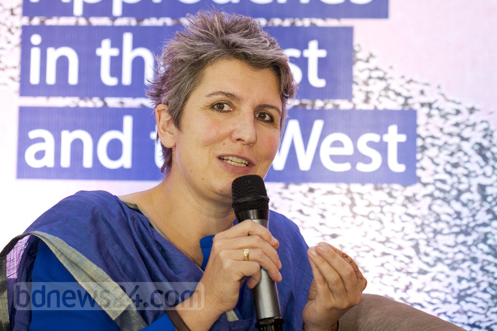 """Deutsche Welle Chief Editor Ines Pohl speaks at a discussion on """"Migration -- Challenges and Approaches in the East and the West"""" at Pan Pacific Sonargaon Hotel in Dhaka, organised by Deutsche Welle on Saturday. Photo: Muhammad Mostafigur Rahman"""