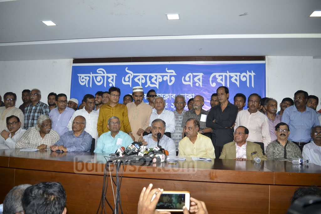 Jatiya Oikya Prokriya chief Dr Kamal Hossain briefs the media on a new anti-government alliance with the BNP at the National Press Club in Dhaka on Saturday.