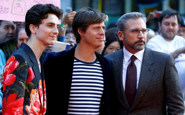 Director Felix van Groeningen and cast members Timothee Chalamet and Steve Carell arrive for the UK premiere of
