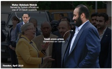 Maher Abdulaziz Mutred, named by Turkish officials as one of 15 Saudi Suspects, and crown prince Mohammed bin Salman in Houston, April 2018. The New York Times