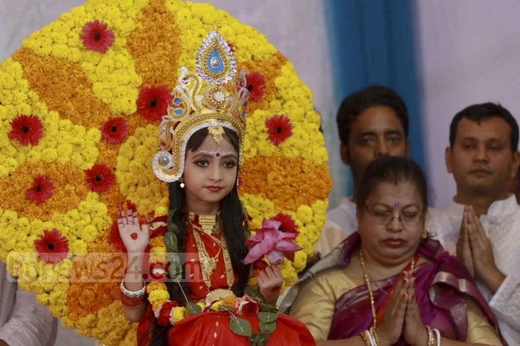 The Kumari Puja is held at the Ramkrishna Mission in Dhaka on the Durga Puja Maha Ashtami on Wednesday. Photo: Abdullah Al Momin