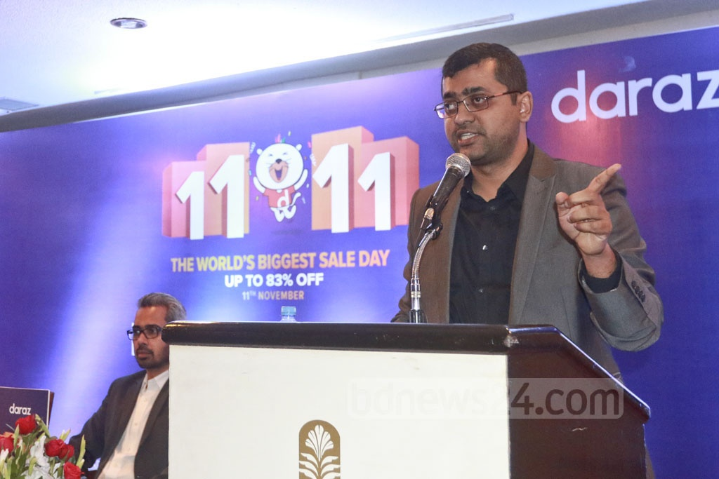Daraz BD Managing Director Syed Mostahidul Hoq speaks at a press conference organised by the e-commerce company at the Pan Pacific Sonargaon Hotel on Thursday to discuss the world's largest online sales day 11.11, which is being held in Bangladesh for the first time. Photo: Abdullah Al Momin