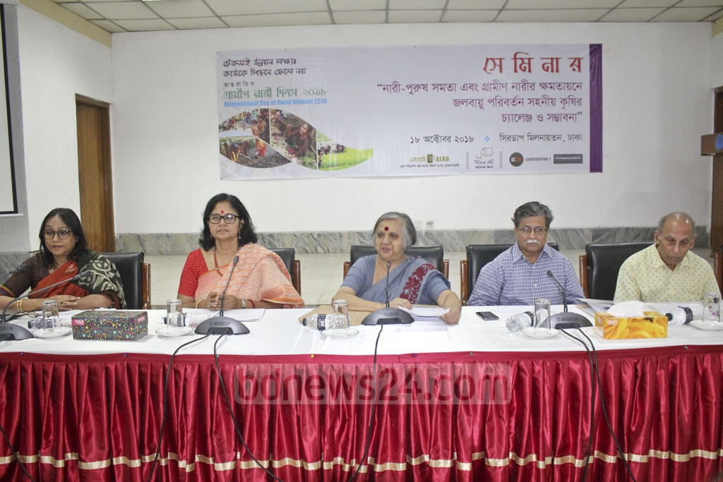 Guests attend a seminar on gender equality and the challenges and opportunities of adapting agriculture to climate change for rural woman at Dhaka's CIRDAP auditorium on Thursday.