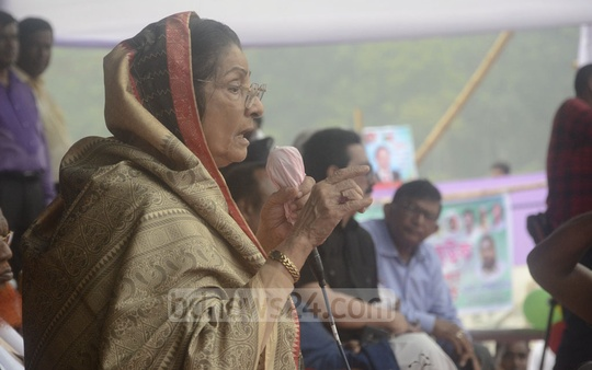 Leader of the Opposition in Parliament Rowshan Ershad attends the Sammilito Jatiya Jote rally at Dhaka's Suhrawardy Udyan on Saturday ahead of the coming national parliamentary election.