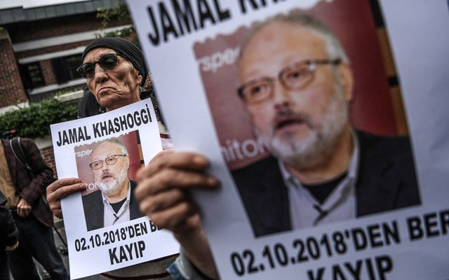 Protesters outside the Saudi Consulate in Istanbul. The New York Times