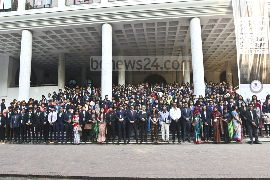 Participants of the seventh session of the Dhaka University National Model United Nations (DUNMUN) pose for a group photo on Sunday. Photo: Abdullah Al Momin