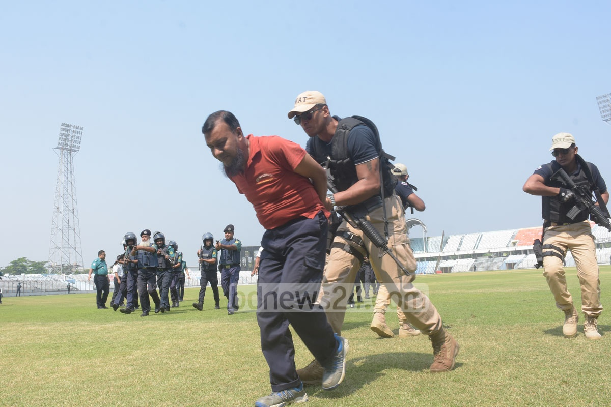 Law enforcers in a security drill in Chattogram on Sunday ahead of matches during the Bangladesh-Zimbabwe series. This photo was taken from the Zohur Ahmed Chowdhury Stadium in the port city on Sunday. Photo: Suman Babu