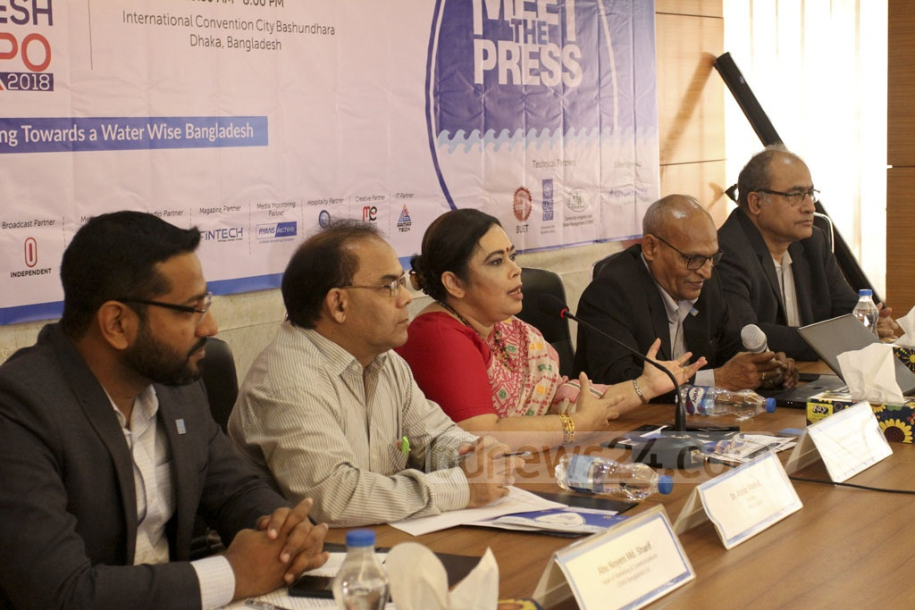 Meherun N Islam, president and managing director of event management firm CEMS Global, briefing the media about the Second Water Bangladesh International Expo in Dhaka on Sunday. The Local Government Division is the co-organiser of the expo to be held in the capital's International Convention City Bashundhara from Oct 25 to 27.