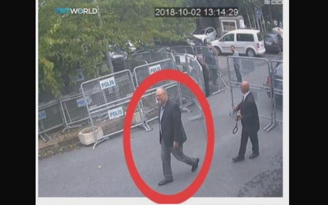 A still image taken from CCTV video and obtained by TRT World claims to show Saudi journalist Jamal Khashoggi highlighted in a red circle by the source as he arrives at Saudi Arabia's Consulate in Istanbul Turkey