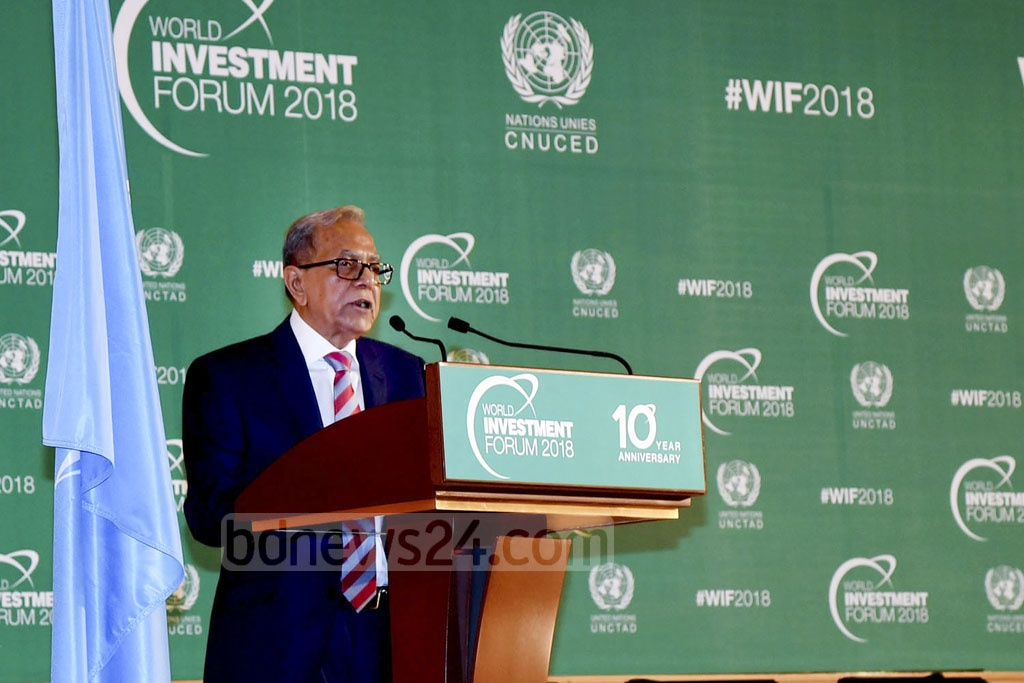 President Md Abdul Hamid addressing the World Investment Forum of the United Nations Conference on Trade and Development in Geneva, Switzerland on Tuesday. Photo: Press Wing, Bangabhaban