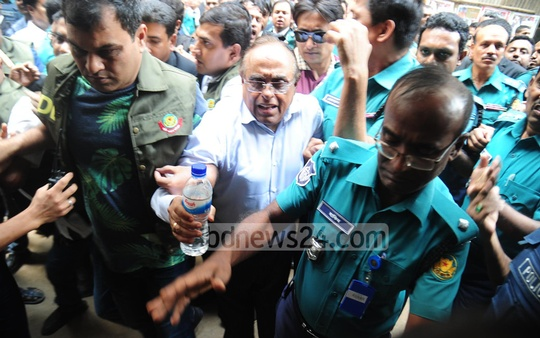 Barrister Mainul Hosein, a former adviser to the military-controlled caretaker government, is sent to jail in a case over his remarks on TV defaming journalist Masuda Bhatti. Photo: Abdullah Al Momin