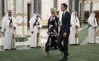 """Ivanka Trump and Jared Kushner, President Donald Trump's son-in-law and a key adviser on the Mideast peace process, arrive at the Royal Court Palace in Riyadh, Saudi Arabia, May 20, 2017. Kushner on Oct 22, 2018, said the White House is still """"fact-finding"""" on the circumstances of the dissident journalist Jamal Khashoggi's death, but he said it has its """"eyes wide open"""" as the investigations into how he died continue. The New York Times"""