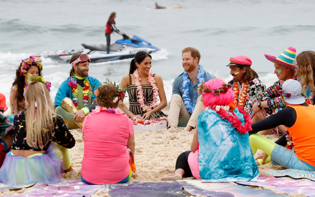 Britain's Prince Harry, the Duke of Sussex, and his wife Meghan, theDuchess of Sussex, are seen during a visit to Taronga Zoo in Sydney