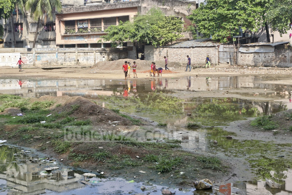 Dhaka South City Corporation started repairing Amligola playground in old Dhaka a year ago but the work has been going on slowly, depriving the children of the area of outdoor time. Photo: Abdullah Al Momin