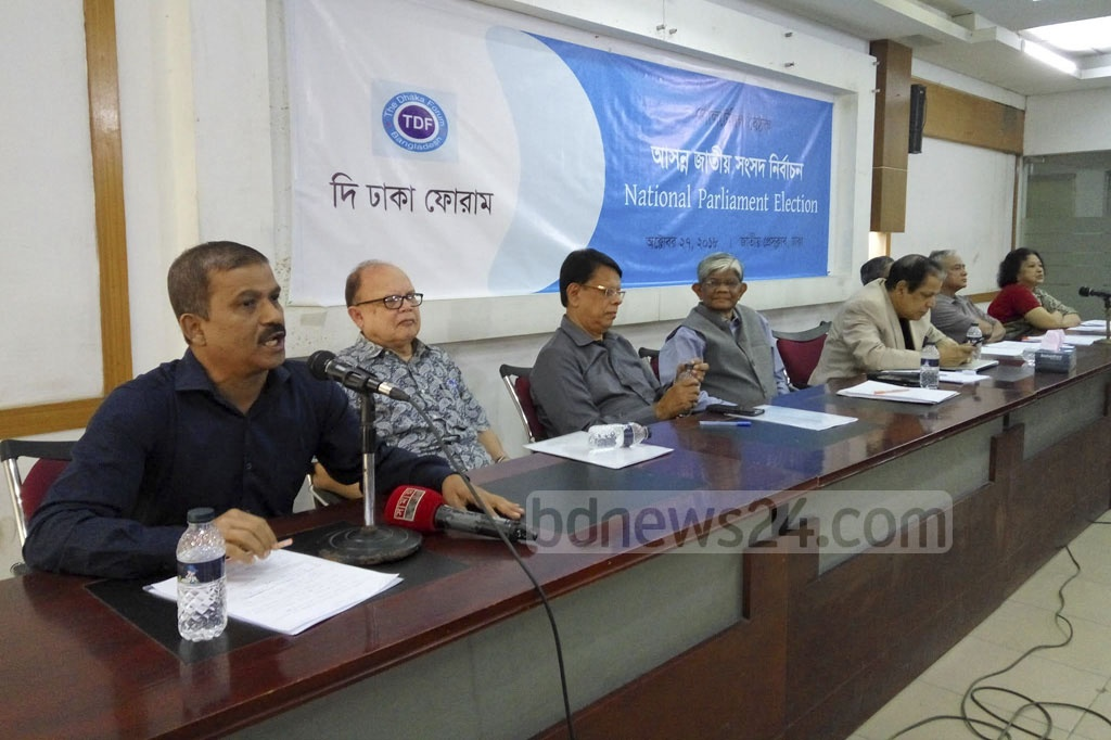 Dhaka University Law Professor Asif Nazrul speaks at a discussion on the 'National Parliament Election' organised by The Dhaka Forum at the National Press Club in Dhaka on Saturday.