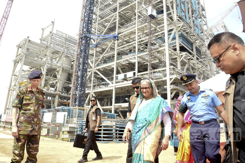 Prime Minister Sheikh Hasina visits the Payra Thermal Power Plant in Patuakhali on Saturday.