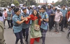Police detained a woman at Shahbagh intersection on Sunday during a demonstration demanding an increase in the age limit for applicants to entry-level government jobs to 35 years.