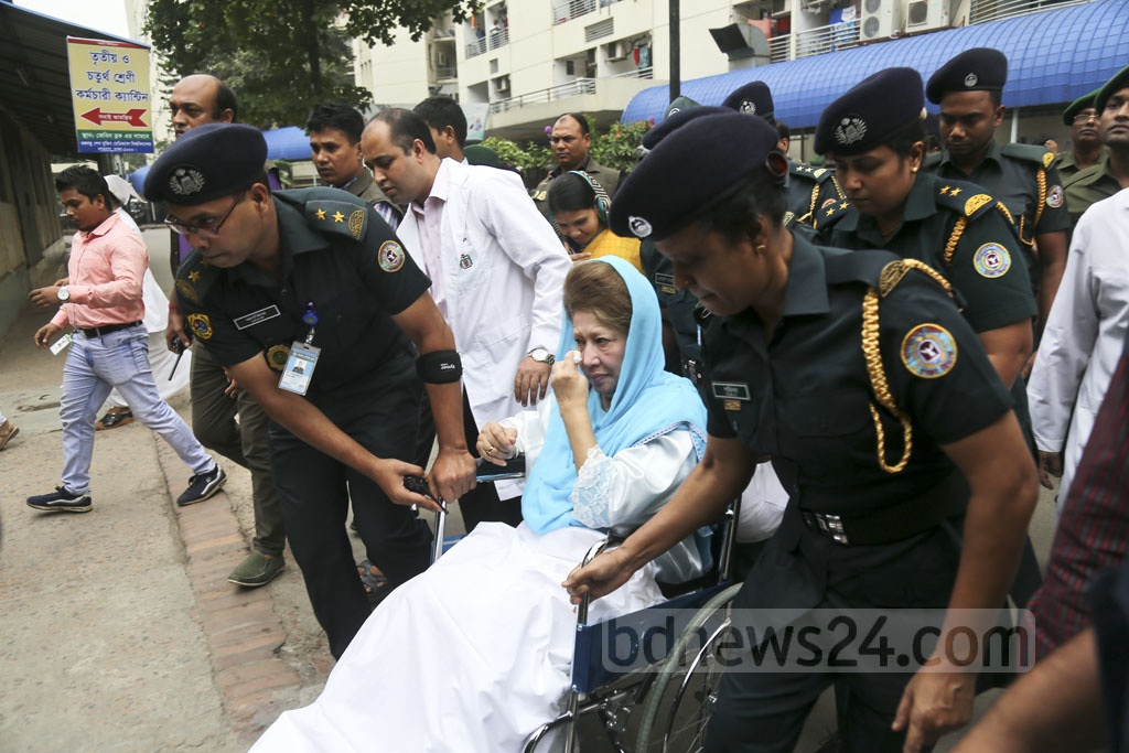 BNP Chairperson Khaleda Zia is taken to the BSMMU's Anatomy Department from her cabin for medical tests on Monday. A court sentenced her to seven years in prison in the Zia Charitable Trust graft case on Monday. Photo: Mahmud Zaman Ovi