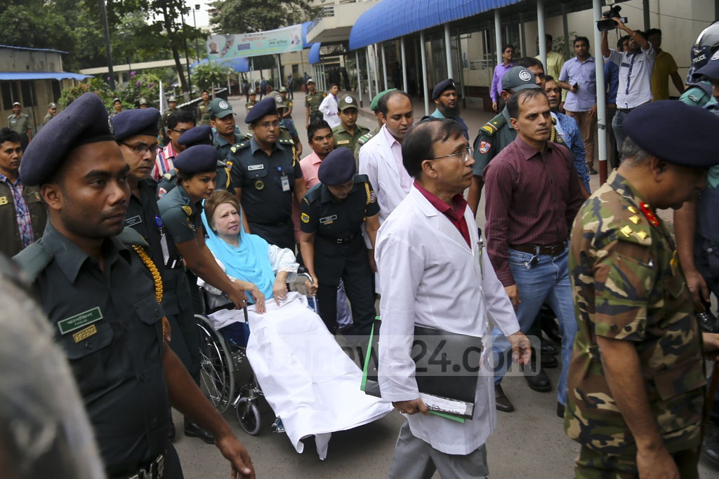 BNP Chairperson Khaleda Zia was taken from her cabin to the BSMMU's Anatomy Department for medical tests just after she was sentenced to seven years in prison in the Zia Charitable Trust graft case. Photo: Mahmud Zaman Ovi
