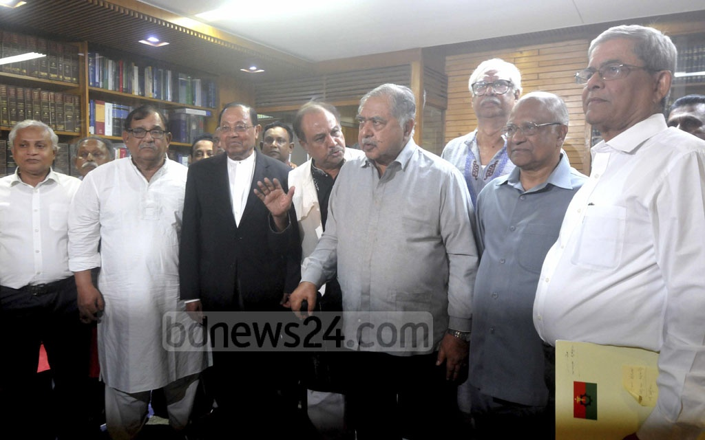 Jatiya Oikya Front leaders met at their chief Gono Forum President Dr Kamal Hossain's chamber at Motijheel in Dhaka on Tuesday to pick members of a delegation for talks with Awami League chief Sheikh Hasina at the Ganabhaban on Thursday.
