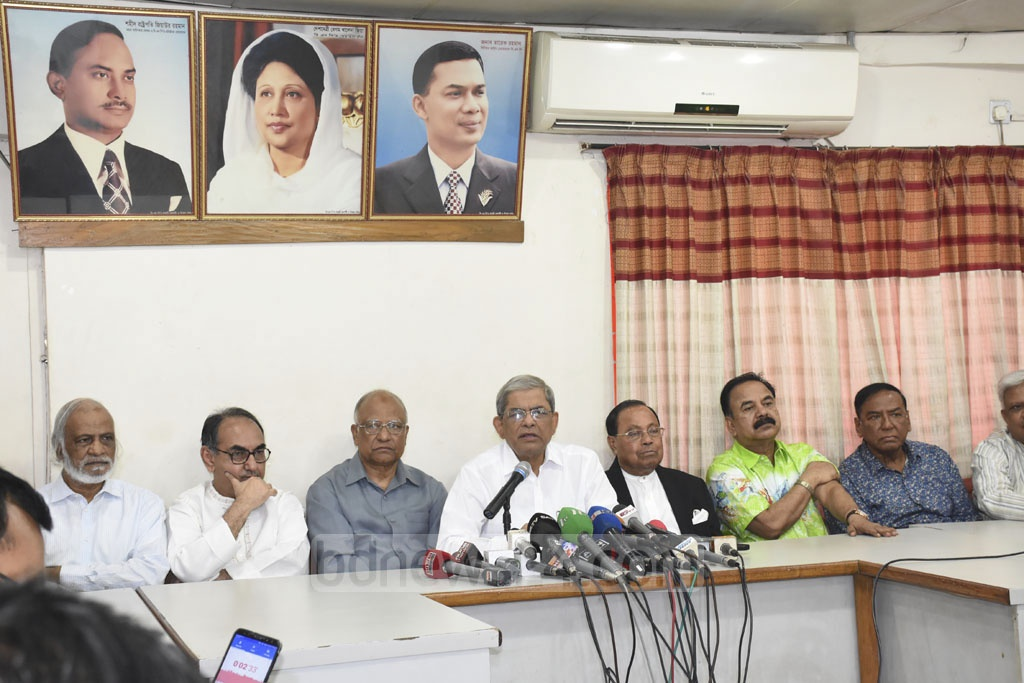 BNP Secretary General Mirza Fakhrul Islam Alamgir speaking at a news conference on Tuesday to protest against the High Court verdict which raised BNP chief Khaleda Zia's jail term to 10 years from five years for corruption in Zia Orphanage Trust.