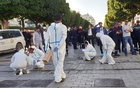 Forensic experts work near the site of an explosion in the centre of the Tunisian capital Tunis, Tunisia Oct 29, 2018. REUTERS