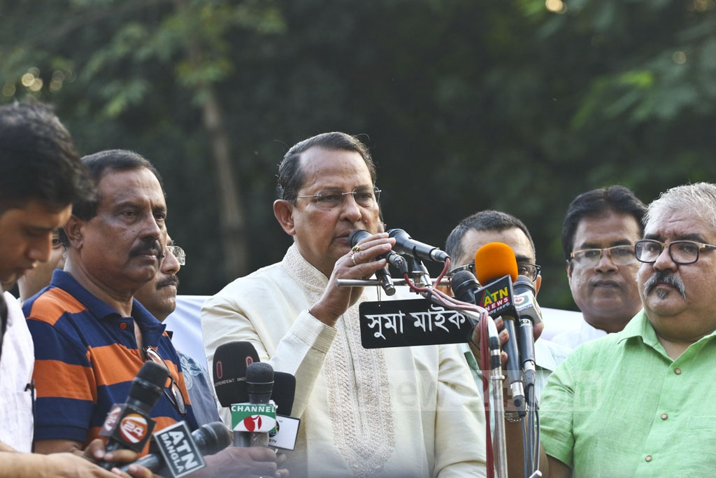 Jatiya Samajtantrik Dal (JaSoD) President and Information Minister Hasanul Haq Inu speaking at a rally at the Central Shaheed Minar in Dhaka on Wednesday to mark the party's 46th founding anniversary. Photo: Abdullah Al Momin