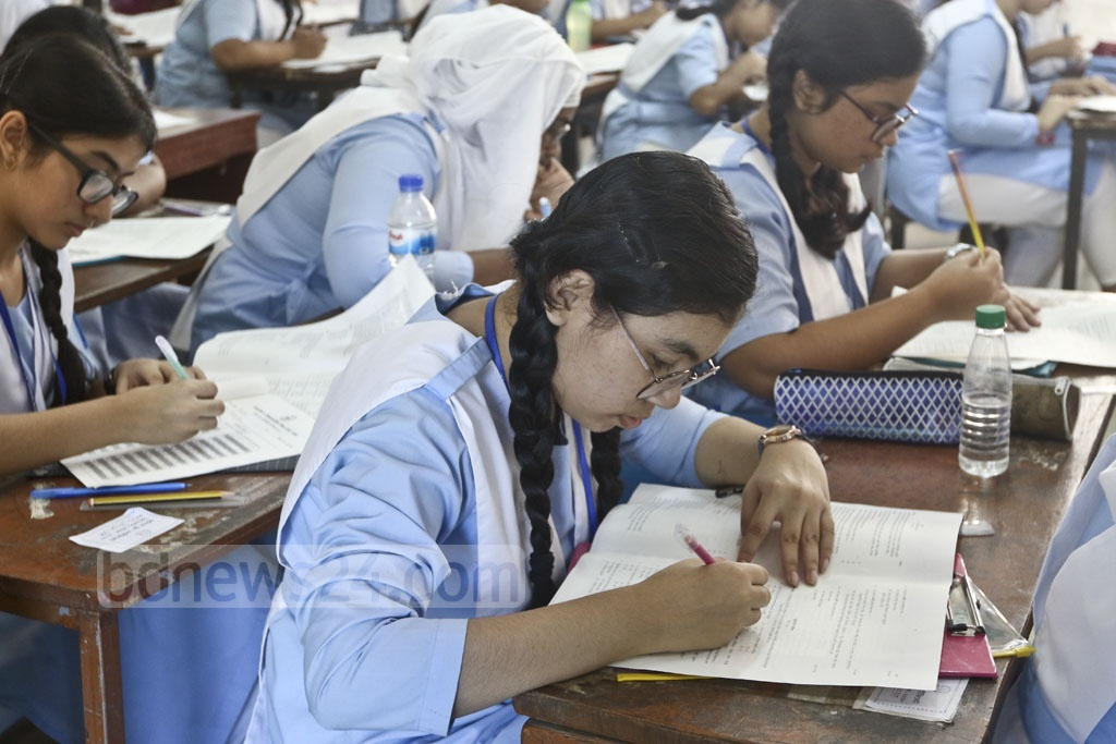 A student at an exam centre in Dhaka's Motijheel Govt Boys' High school on Thursday, the first day of the Junior School Certificate and Junior Dakhil Certificate exams. Photo: Abdullah Al Momin