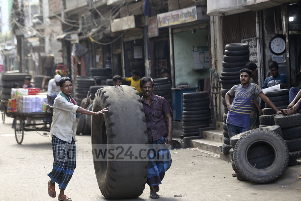 From small nuts and bolts to galvanised tyres, all spare car parts are available at Dholaikhal in Old Dhaka. Photo: Mahmud Zaman Ovi