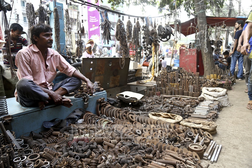 Spare car parts are on display at a shop in Old Dhaka's Dholaikhal. Photo: Mahmud Zaman Ovi