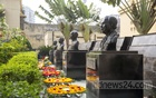 Wreaths are laid in front of the statues of the four national leaders at the memorial museum in the old Dhaka Central Jail on Nazimuddin Road on Saturday. Photo: Mostafigur Rahman