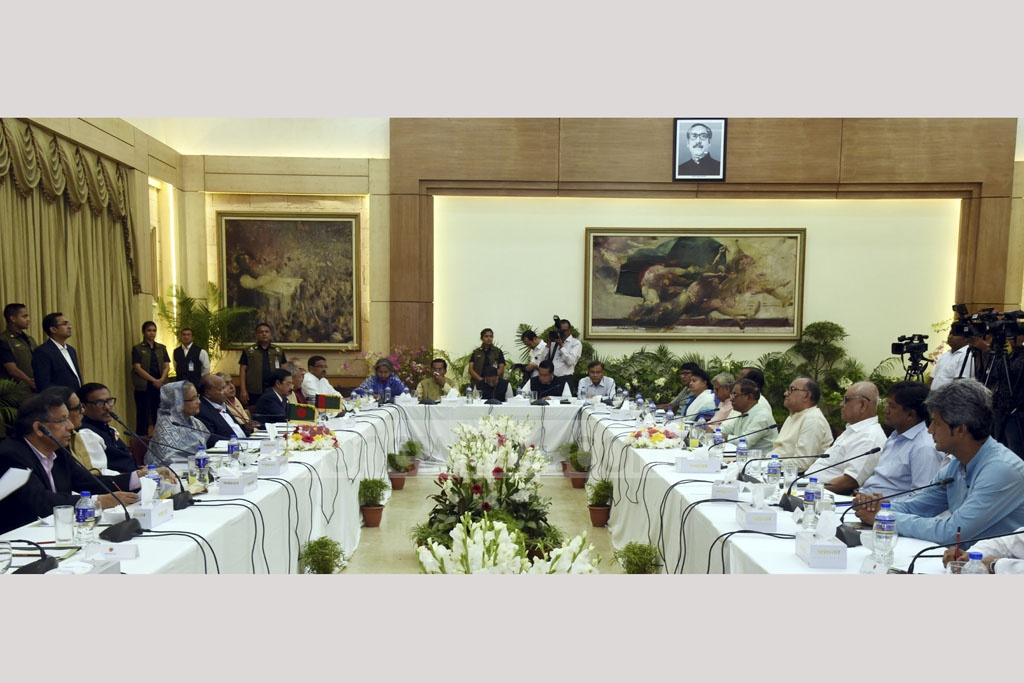 Prime Minister Sheikh Hasina speaking during a pre-election dialogue between the ruling 14-Party coalition and the Left Democratic Alliance at the Ganabhaban on Tuesday. Photo: Saiful Islam Kallol