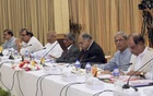 Jatiya Oikya Front leaders take part in talks with Prime Minister Sheikh Hasina at the Ganabhaban on Wednesday.
