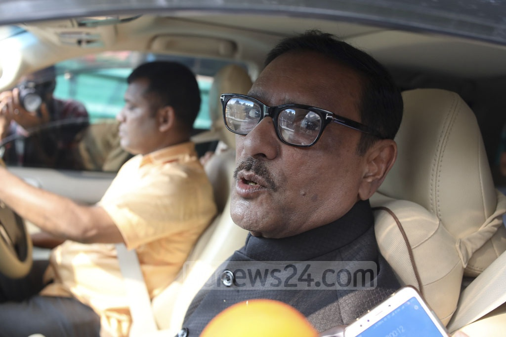 Awami League General Secretary Obaidul Quader leaves the Ganabhaban after talks with the Jatiya Oikya Front on Wednesday. Photo: Asif Mahmud Ove
