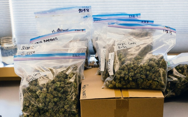 Bags of cannabis before being divided for sale at a dispensary in Vancouver, Canada, on Oct 9, 2018. The New York Times