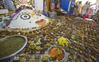 Food offered to Hindu gods during the Annakut festival at the ISKCON Ashram in Dhaka's Swamibagh on Thursday. Photo: Mostafigur Rahman