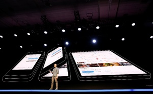 File Photo: Justin Denison, Samsung Electronics senior vice president of Mobile Product Marketing, speaks during the unveiling of Samsung's new foldable screen smart phone, during the Samsung Developers Conference in San Francisco, California, US, November 7, 2018. Reuters