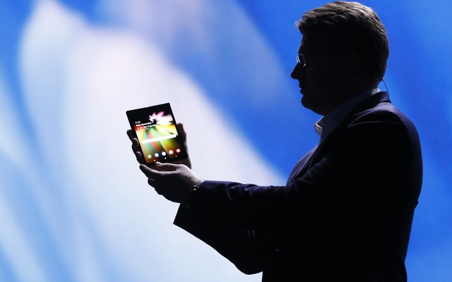 Justin Denison, Samsung Electronics senior vice president of Mobile Product Marketing, speaks during the unveiling of Samsung's new foldable screen smart phone, during the Samsung Developers Conference in San Francisco, California, US, November 7, 2018.
