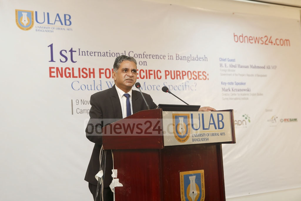 "ATM Sajedul Huq, director of the Center for Language Studies at ULAB, speaks at an international conference on ""English for Specific Purposes"" in Dhaka on Friday. Photo: Mostafigur Rahman"