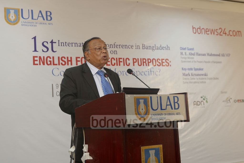 "Foreign Minister AH Mahmood Ali speaks at an international conference on ""English for Specific Purposes"" in Dhaka on Friday. Photo: Mostafigur Rahman"