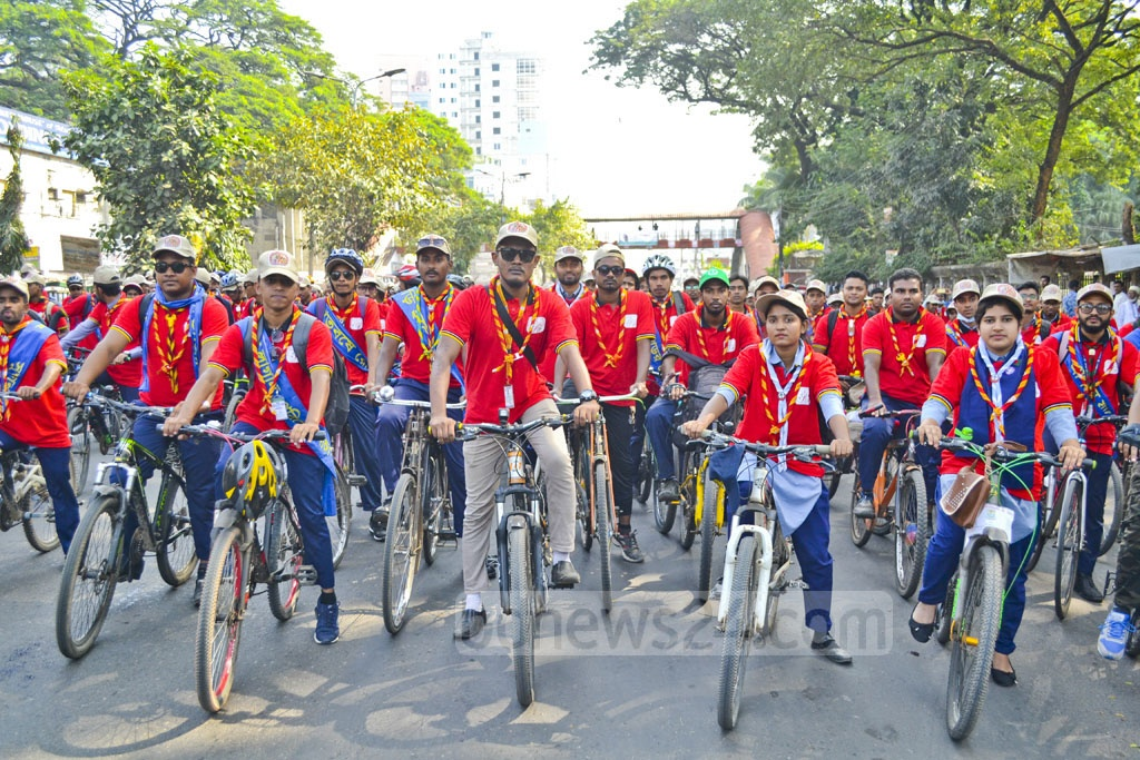 Rover Scouts took out a bicycle procession in Dhaka on Friday to celebrate their 100 years in scouting.