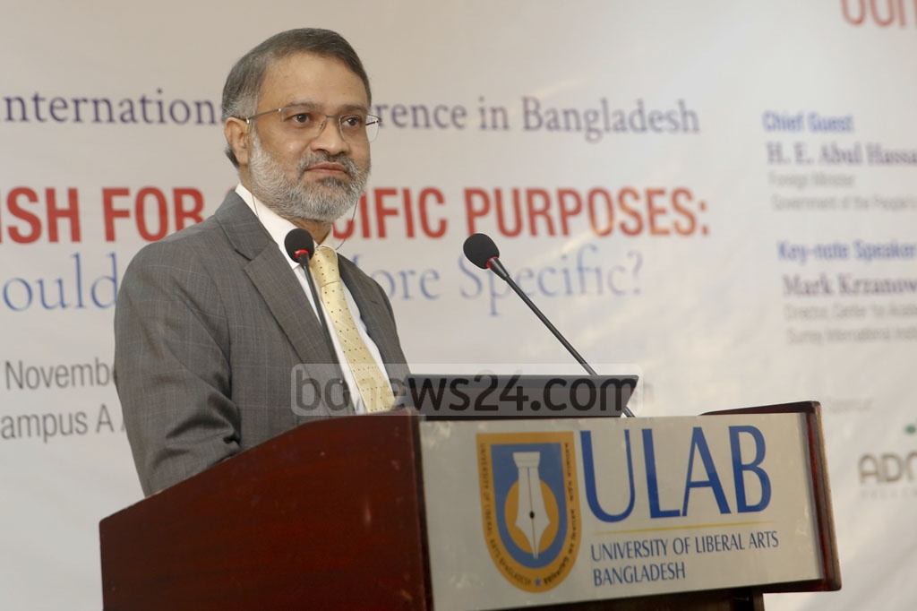 "Toufique Imrose Khalidi, editor-in-chief of bdnews24.com, speaks at an international conference on ""English for Specific Purposes"" in Dhaka on Friday. Photo: Mostafigur Rahman"