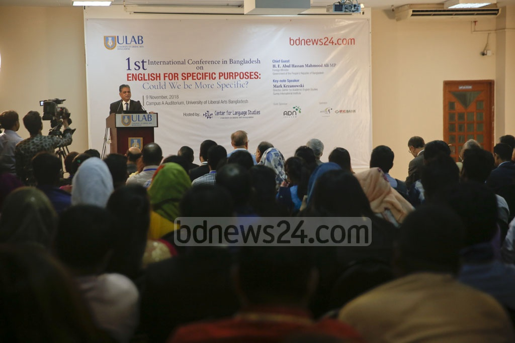 "The daylong international conference on ""English for Specific Purposes"" is held at the University of Liberal Arts in Dhaka on Friday. Photo: Mostafigur Rahman"